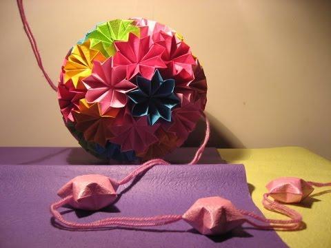 Hướng dẫn cách làm quả cầu hoa may mắn Kusudama