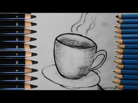 تعليم رسم فنجان قهوه سهل جدا للمبتدئين Youtube