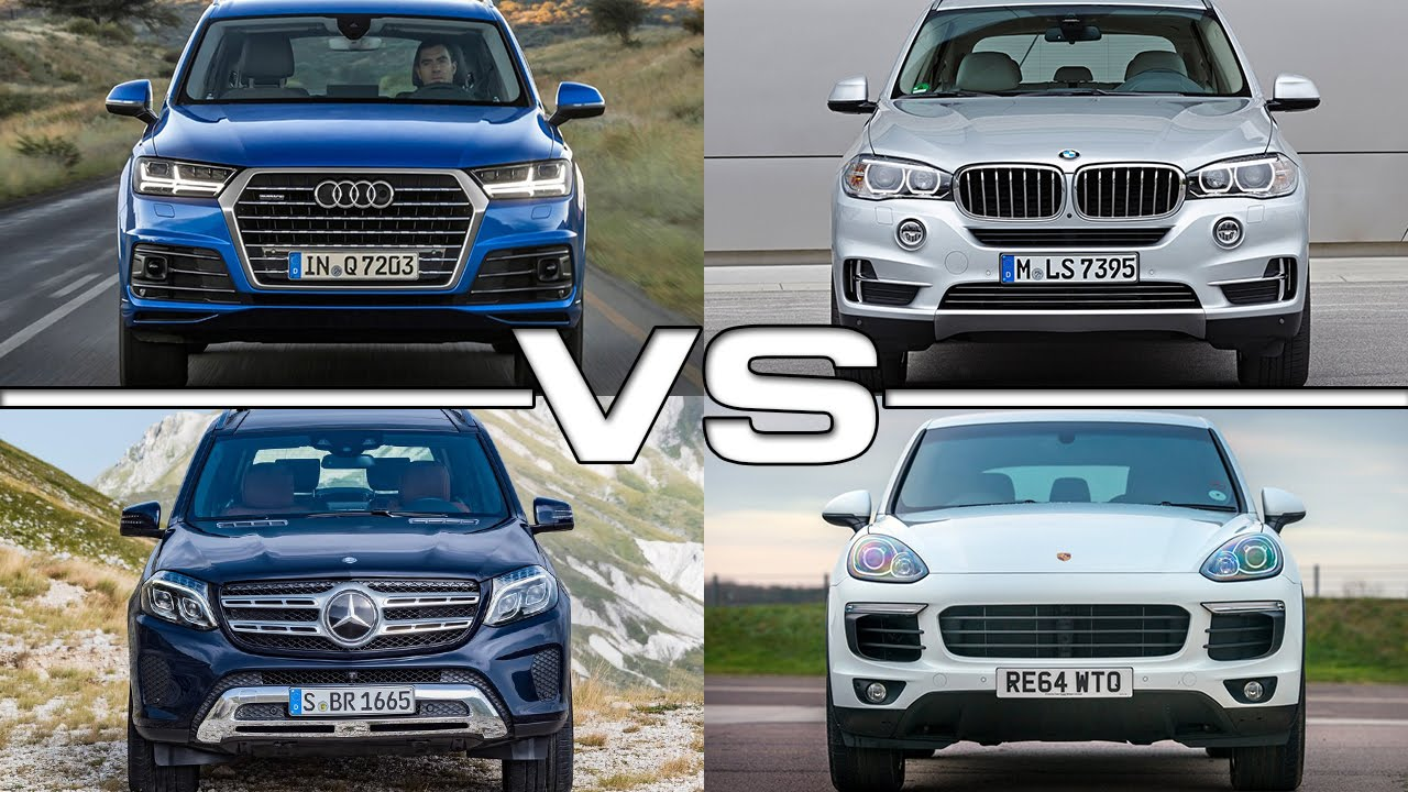 audi q7 vs bmw x5 vs mercedes gls vs porsche cayenne youtube. Black Bedroom Furniture Sets. Home Design Ideas