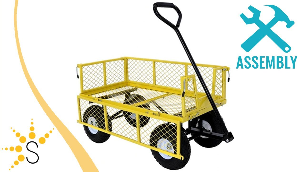 Sunnydaze Yellow Utility Cart with Removable Folding Sides - 12-Pound  Capacity - QH-UC12-YW