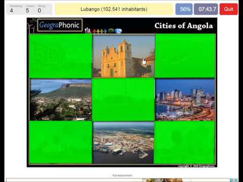 Cities of Angola, game for geography and travel, Luanda, Huambo,Lobito, benguela, Soyo, Kuito,