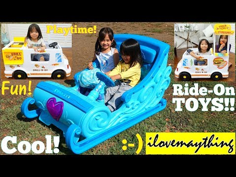 Cooking Kitchen Playset. Ride-On Power Wheels FOOD TRUCK and Disney FROZEN Sleigh. Food Playset