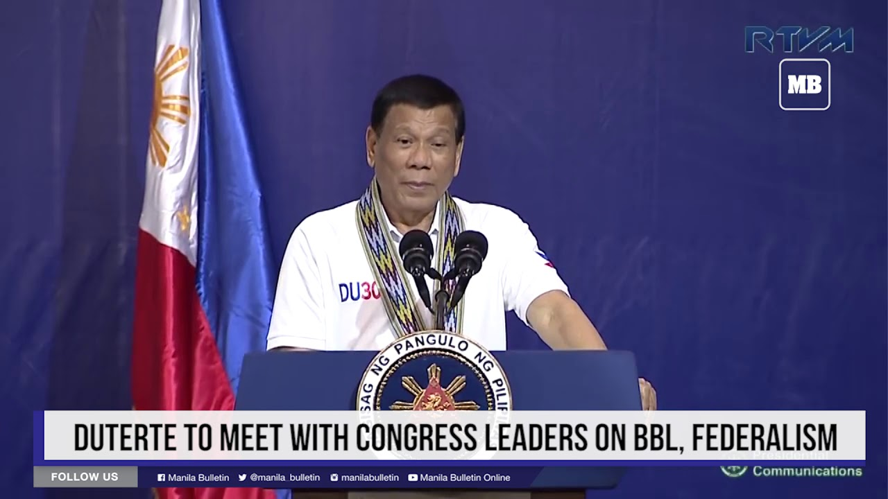 Duterte to meet with Congress leaders on BBL, federalism