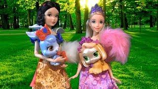 белоснежка рапунцель и королевские питомцы салон барби мультик куклами принцессы диснея