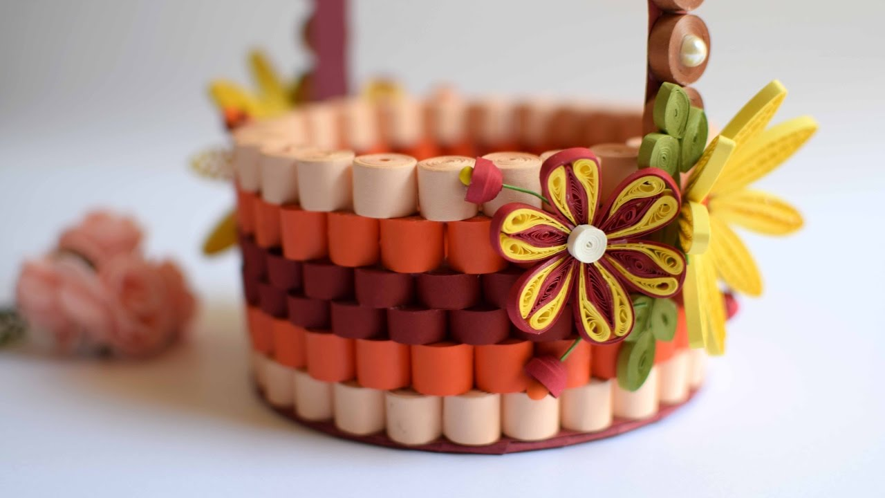 How To Make A Quilling Flower Basket : Quilled basket part decorating paper d