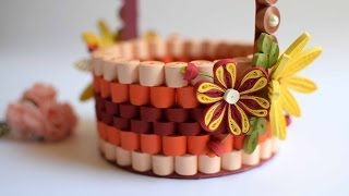 Quilled Basket Part 2: Decorating Paper basket/ 3D Quilling Flowers