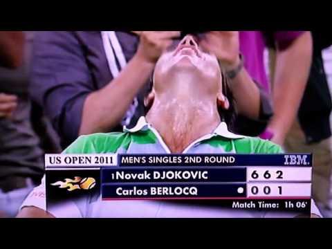 [2011 US Open] Berlocq Avoids Triple Bagel Against Djokovic - Great Crowd Reaction!