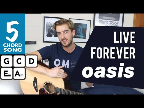 Oasis - Live Forever Guitar Lesson - Beginner Guitar Songs