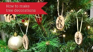 Beginners - how to make a Christmas tree decoration using pyrography - cat and snowflake designs
