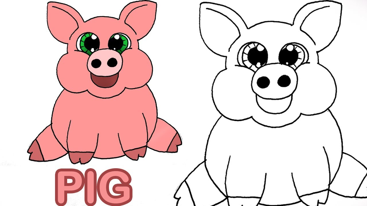 Very Easy How To Draw Cute Cartoon Pig Art For Kids Youtube