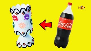 How to Make Flower Vase from Waste Plastic Bottle | Plastic Bottle Flower Pot Craft | Home Decor