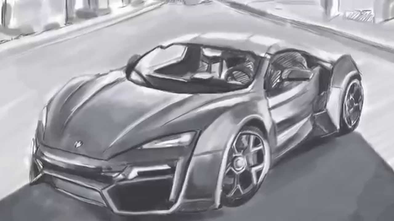 lykan hypersport, Fast and Furious 7, speed drawing