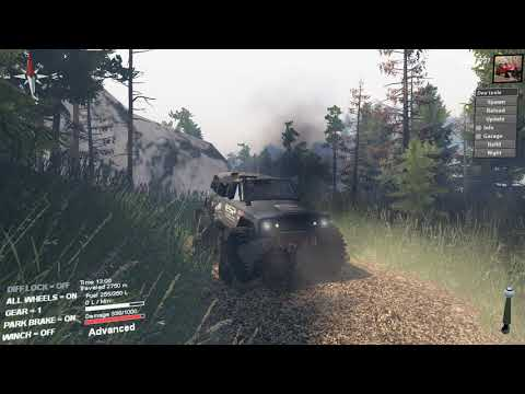 Spintires Jeep wagoneer top truck challenge in tunnels map