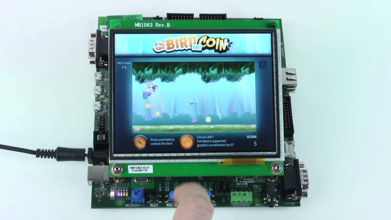 TouchGFX Demo on STM32F429 Evaluation Board with a 5 7