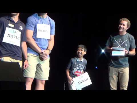 Thumbnail: Akash Vukoti entertaining at the University of Texas at Tyler, Pine Cove Camping Spelling Bee-2017