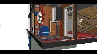 3D модель дома с коммуникациями. Инженерная визуализация.