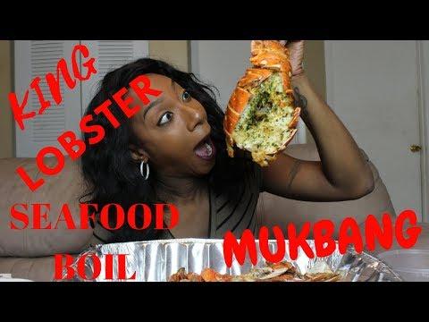 Seafood Crab Boil Ft King LOBSTER Mukbang Shrimp Scampi Halloween Special