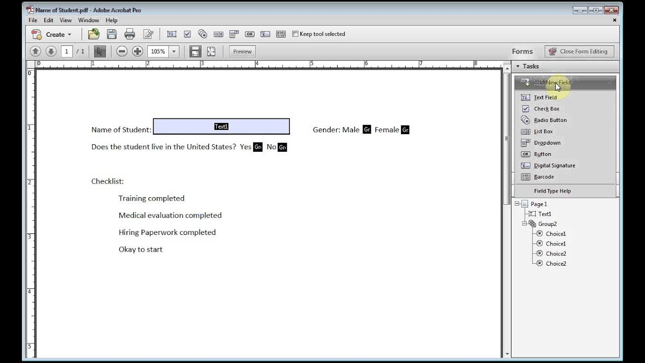 Adobe Acrobat How to Create A Form With Check Boxes and Radial ...