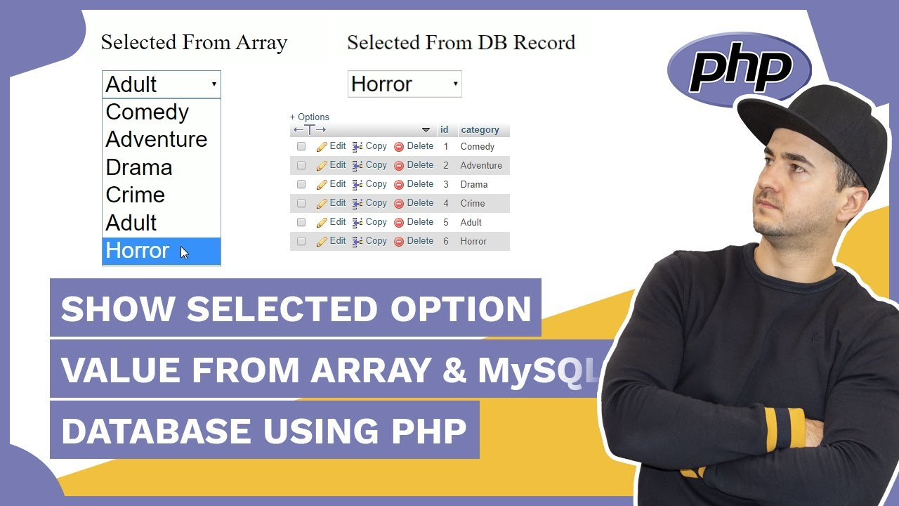 How to Display Option Value From Array & Mysql Database using PHP