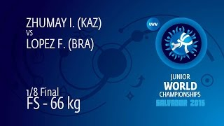 1/8 FS - 66 Kg: I. ZHUMAY (KAZ) Df. F. LOPEZ (BRA) By TF, 12-0