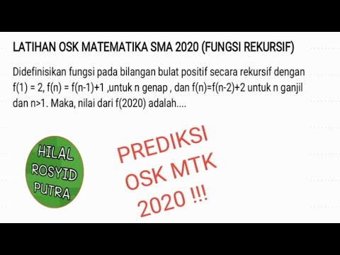 Latihan Osk Matematika Sma 2020 Fungsi Rekursif Osn Ksn Ksm Osnmatematika Oskmatematika