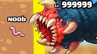 GROWING a MAX LEVEL DEATH WORM in Deep Worm 2 - Worm attack