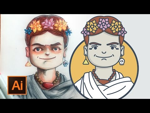 Mini Frida Kahlo vector illustration using Adobe Illustrator