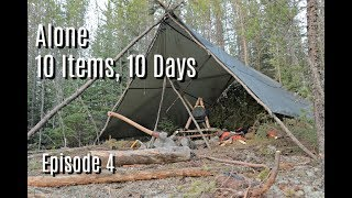 Improving  Camp and Catching Fish Ep 4 10 Days, 10 Items; Alone on Island in the Canadian Wilderness