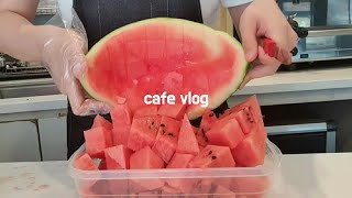 Cafe vlog/Closing from the cafe opening/Making watermelon juice