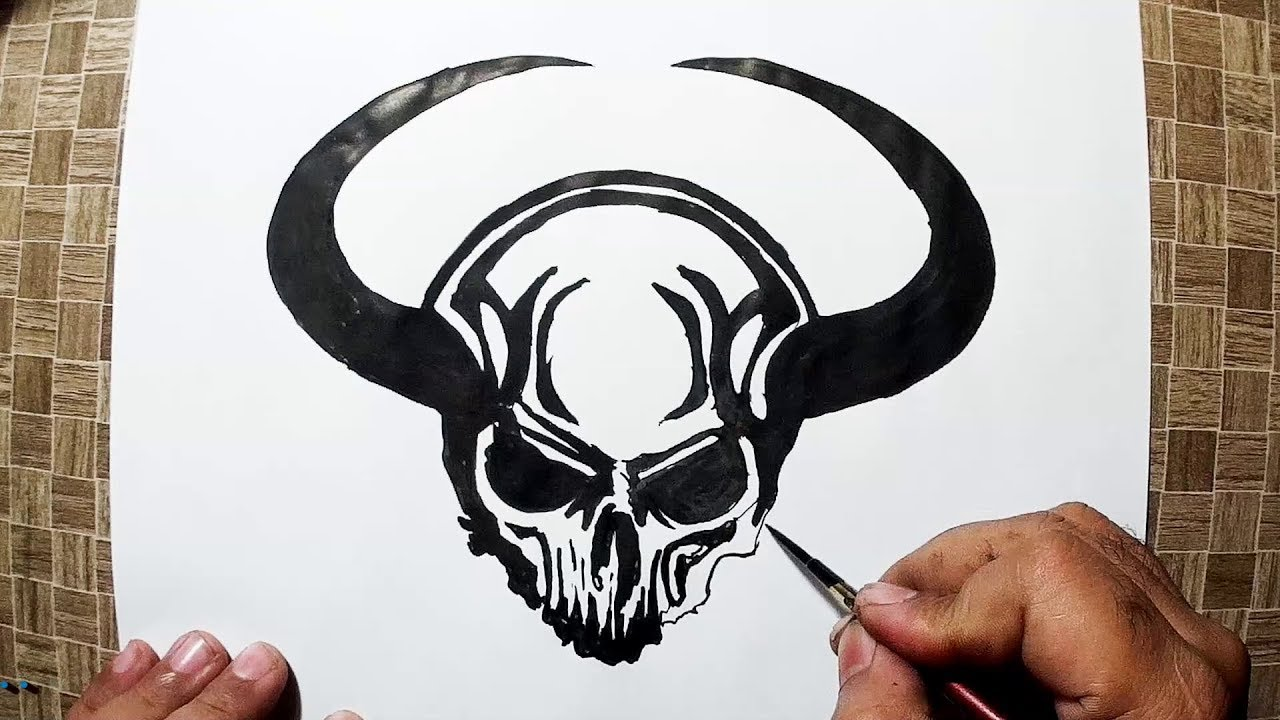 How To Draw A Devil Head With Horns Yzarts Youtube