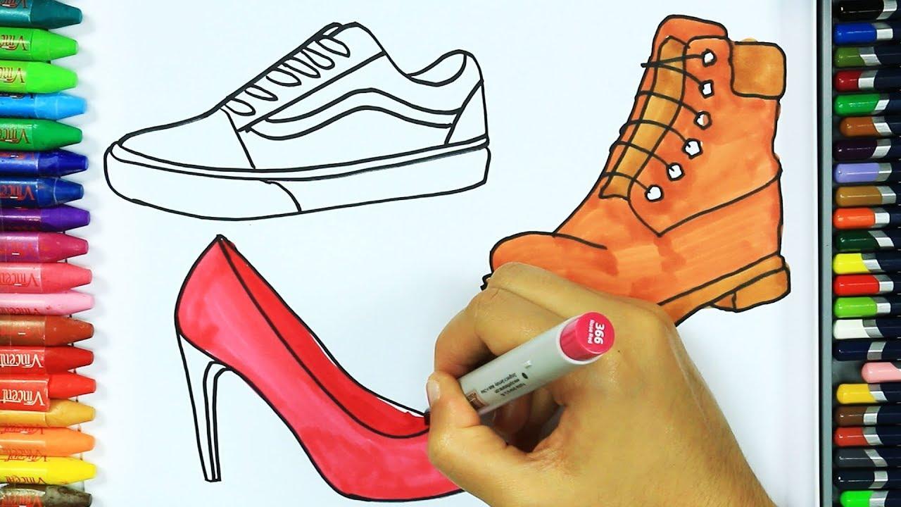 Rysunek I Kolorystyka Buty Jak Narysowac Buty Rysowanie I Kolorowanie Dla Dzieci Kolorowanki Youtube