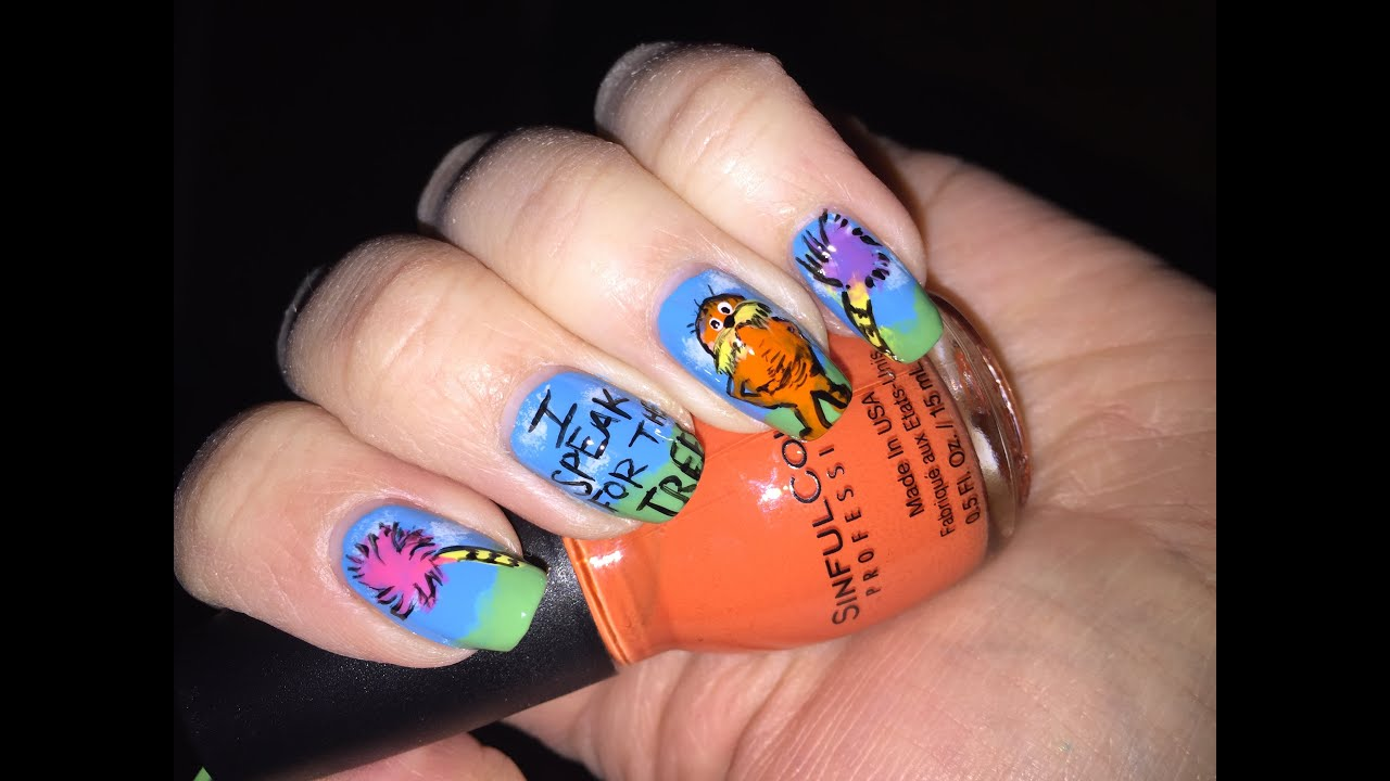 Dr. Seuss Nails - The Lorax nail art - YouTube