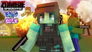 Monster School : FUNNY ZOMBIE APOCALYPSE BOY VS GIRL CHALLENGE - Minecraft Animation