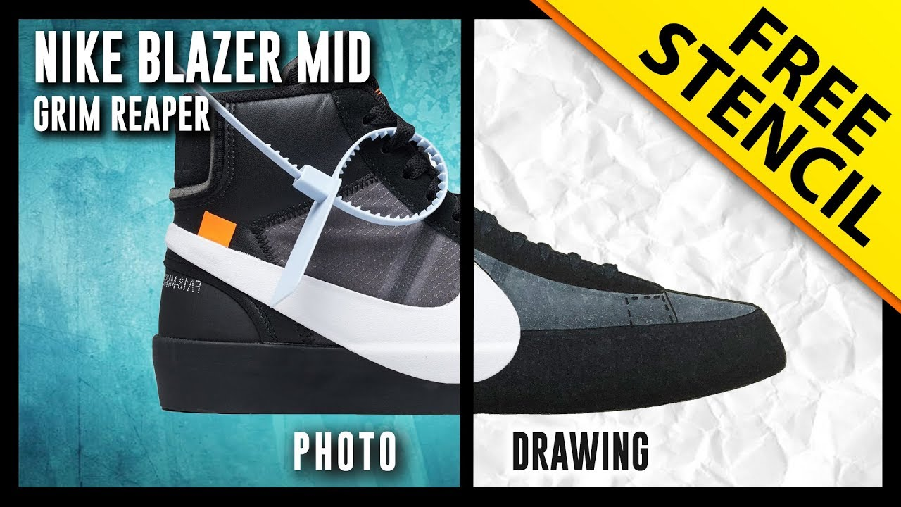 ade753e580fd ... australia off white nike blazer mid grim reaper sneaker drawing w free  stencil 3e352 fa199