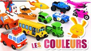 Apprendre les COULEURS avec tous les véhicules - Voiture, Bus, Avion, Police, Pompier, Fusée...