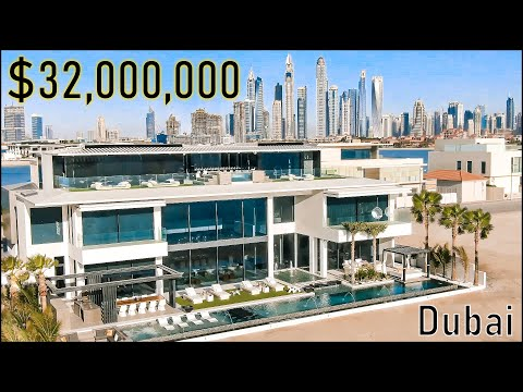 Inside a $32 Million Ultra Luxury Dubai Mansion! - Palm Jumeirah Island