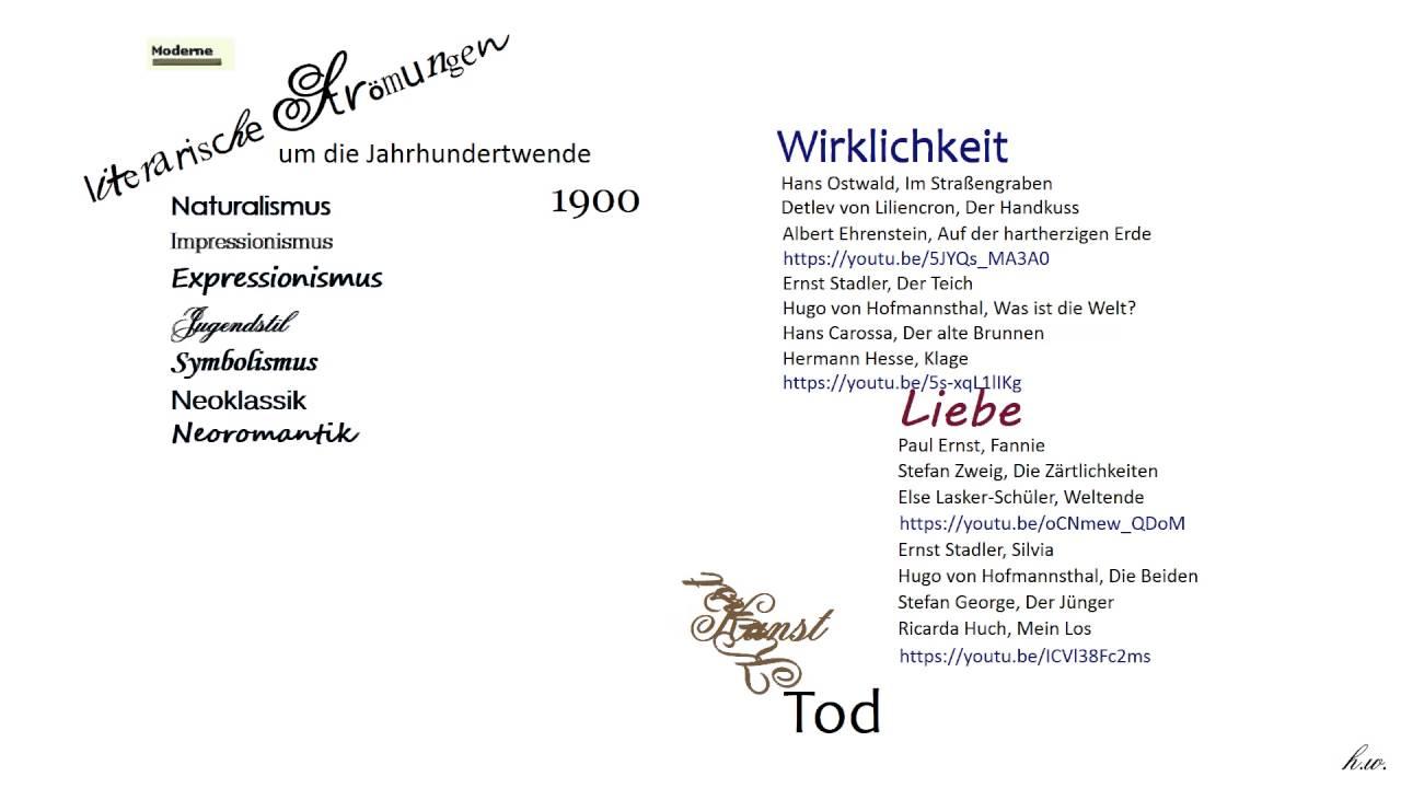 Hw Gedichte Um Die Jahrhundertwende 1900 übersicht