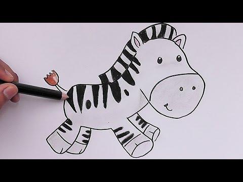 Dibujando y coloreando Cebra Bebé - Drawing and coloring Zebra Baby ...