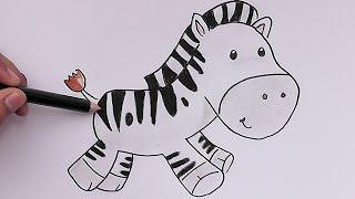 Dibujando y coloreando Cebra Bebé - Drawing and coloring Zebra Baby