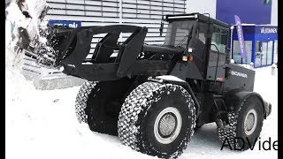 Scania wheel loader - Snow clearing - Sweden - 4K