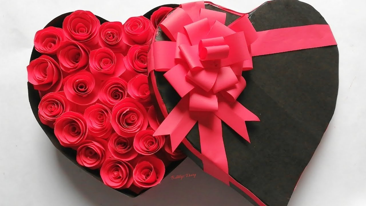 How To Make A Heart Shaped Paper Gift Box With Red Roses Gift Ideas Youtube
