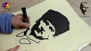 Atatürk Portresi Üzerine Ebru Çalışması (10 kasım anısına)