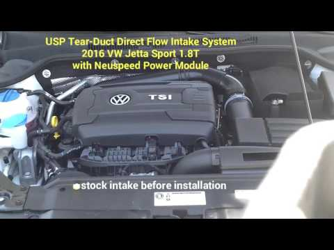 USP Tear-Duct Direct Flow Intake System: 2016 VW Jetta Sport 1.8T- Before and After