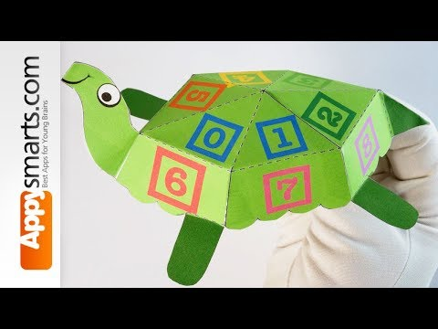 Make a Number Turtle paper toy - app demo (iPad)