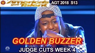 Flau'jae WINS GOLDEN BUZZER 14 year old raps I Can't Move America's Got Talent 2018 Judge Cuts 4 AGT