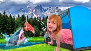 BACKYARD CAMPiNG the MOViE!! AdĮey and Family camp routine, build a tent, fishing, lake, and more!