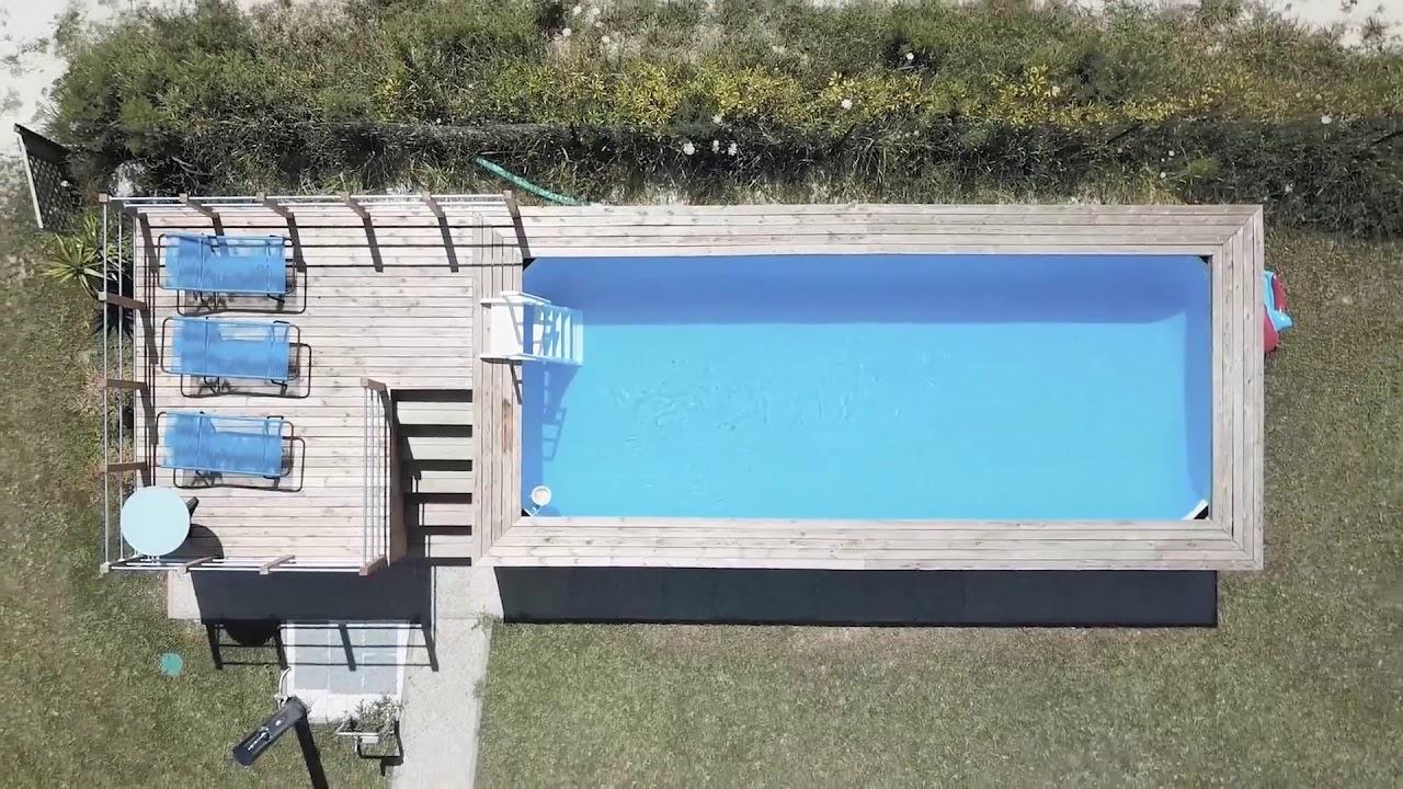 Piscina Da Esterno Fuori Terra piscina fuori terra rivestita in legno o senza manutenzione.