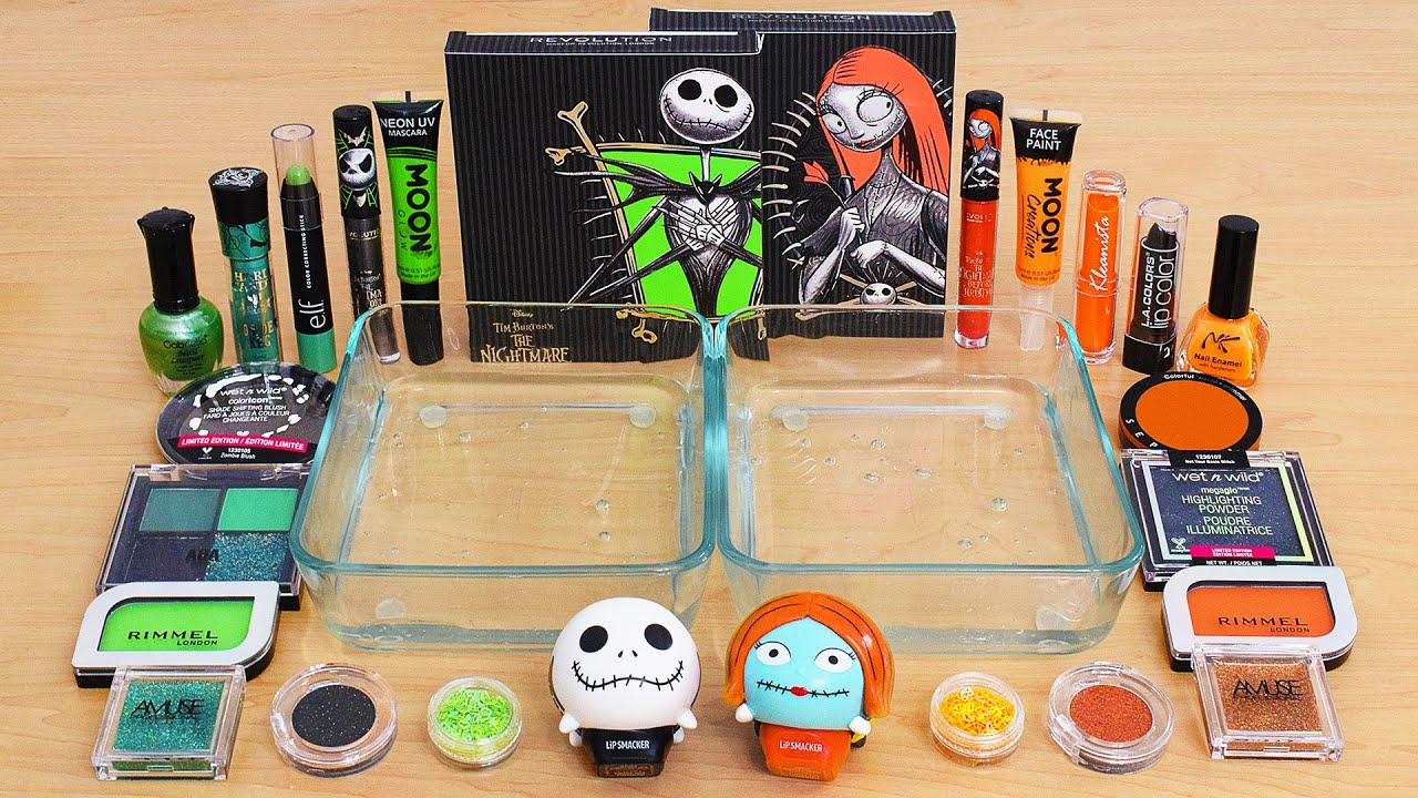 Green vs Orange - Mixing Makeup Eyeshadow Into Slime ASMR 837 Satisfying Slime Video