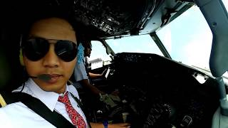 COCKPIT VIEW BOEING 737 LANDING MANADO NDB APPROACH CIRCLING RW 36  #VLOG1