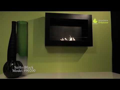 SoHo Black Wall Mount Ethanol Fireplace by Anywhere Fireplace